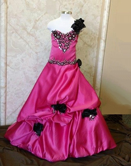 Watermelon and black rose ball gown