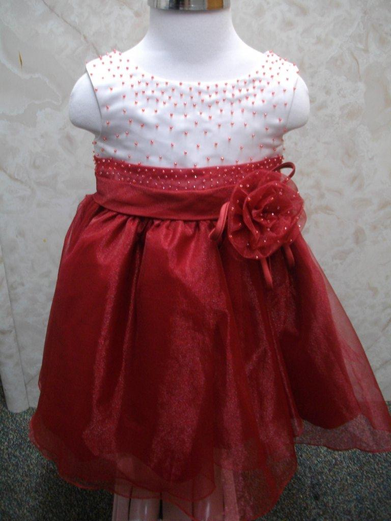 apple red organza infant dress