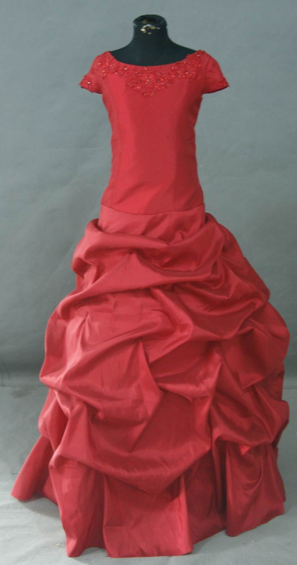 apple red  childrens ball gown gathered skirt