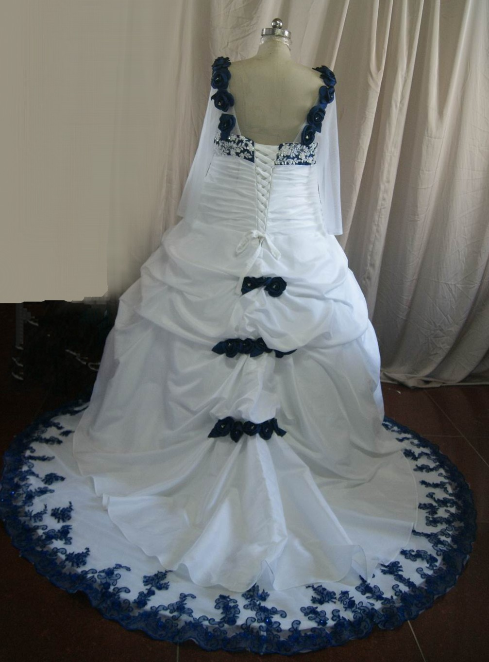 Royal blue and white wedding dresses cocktail dresses 2016 for Blue silver wedding dress