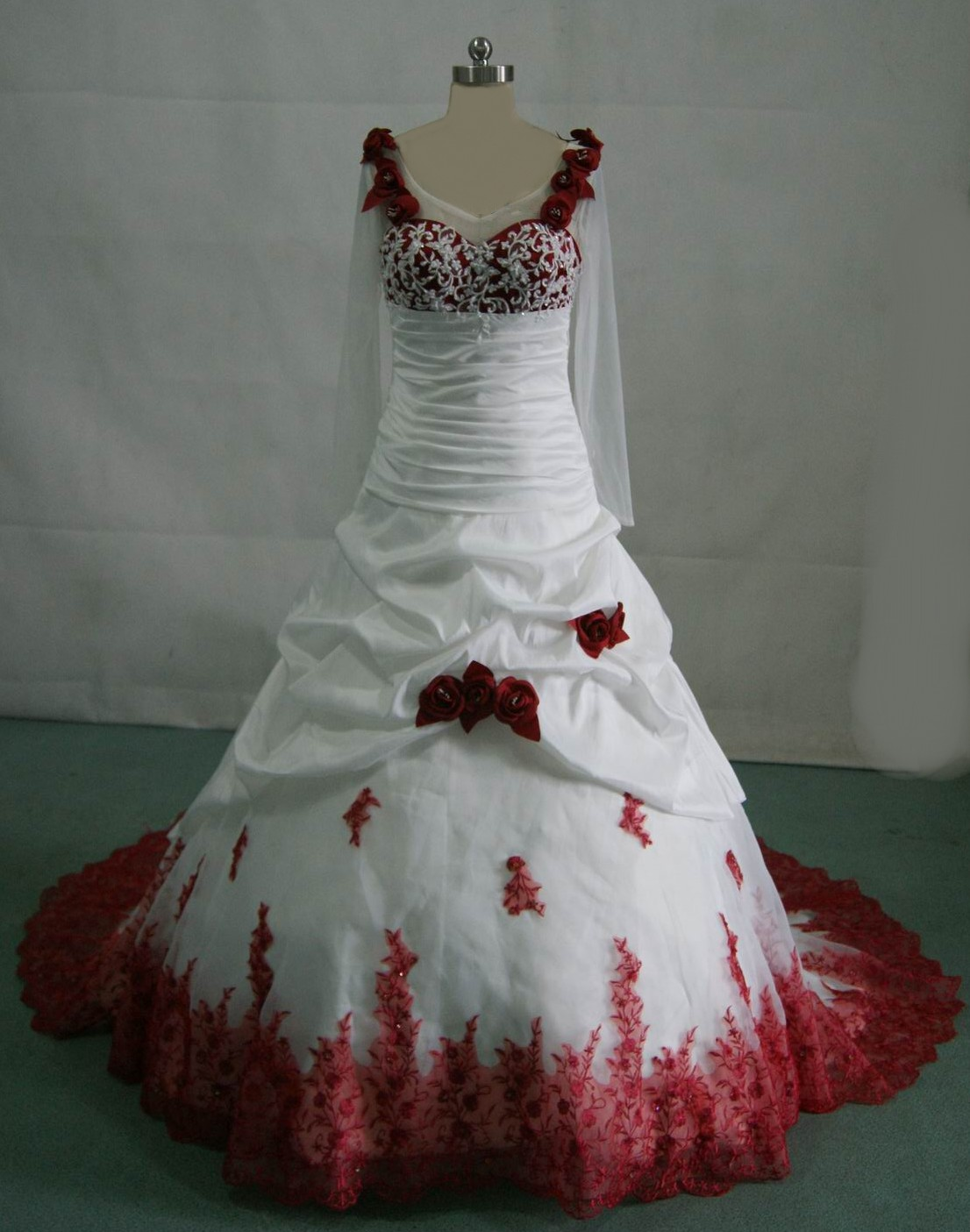 Red And White And Black Wedding Dress images