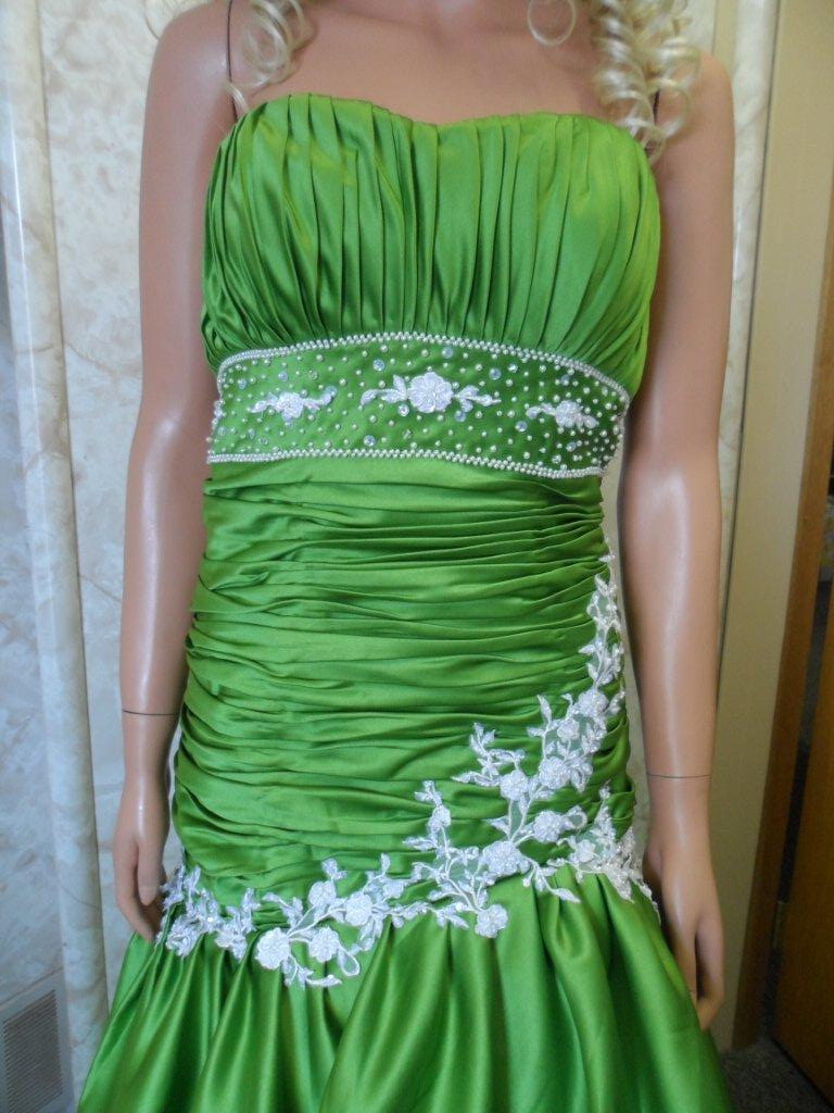 green and white quinceanera gown