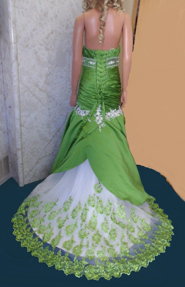 Green and white quinceanera gown.