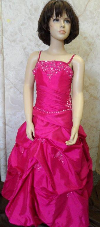 fuchsia spaghetti strap pageant dress