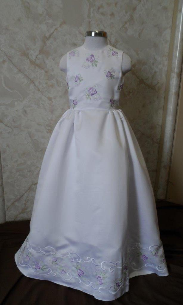 White sleeveless floor length flower girl dresses with lavender and sage embroidered bodice and hem.  In stock & on sale.