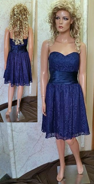 Short Black Bridesmaid Dresses Chiffon Navy Blue Lace Dress