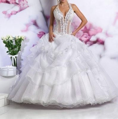 Ball Gown Halter Sheer Embroidery Beading Organza Princess Wedding Dress  For Bride. Jessica 1026. See Thru Corset Wedding Gown