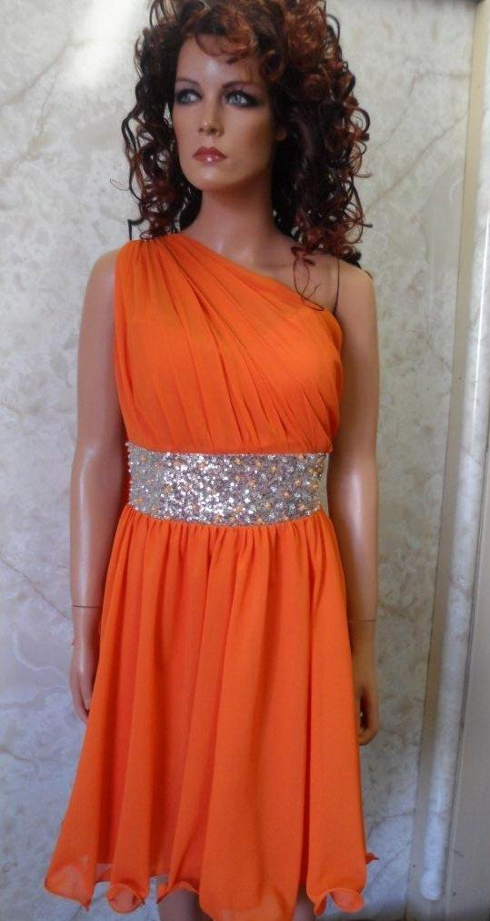 Chiffon Flame Orange One Shoulder Dress Cerise Short Tangerine Bridesmaid
