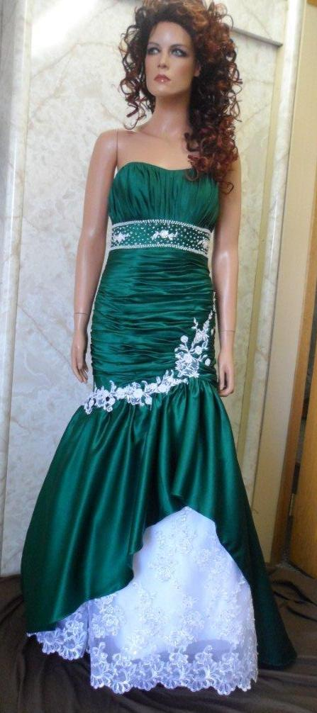 emerald green and white gown