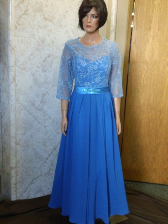 Sheer blue lace mother of the bride dress