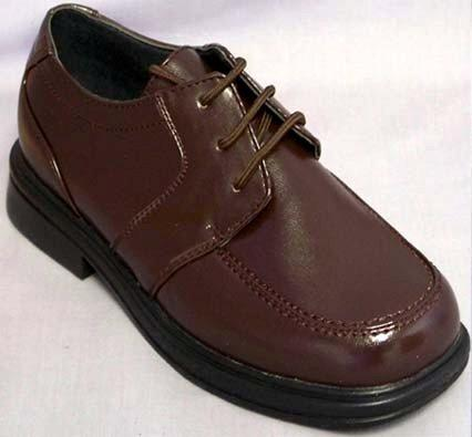 Chocolate brown boys dress shoes.