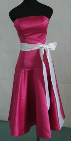 Azalea short bridesmaid dress with white sash