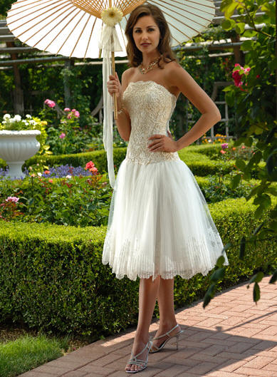 wedding dress bridal lace fabric tea length wedding dresses short