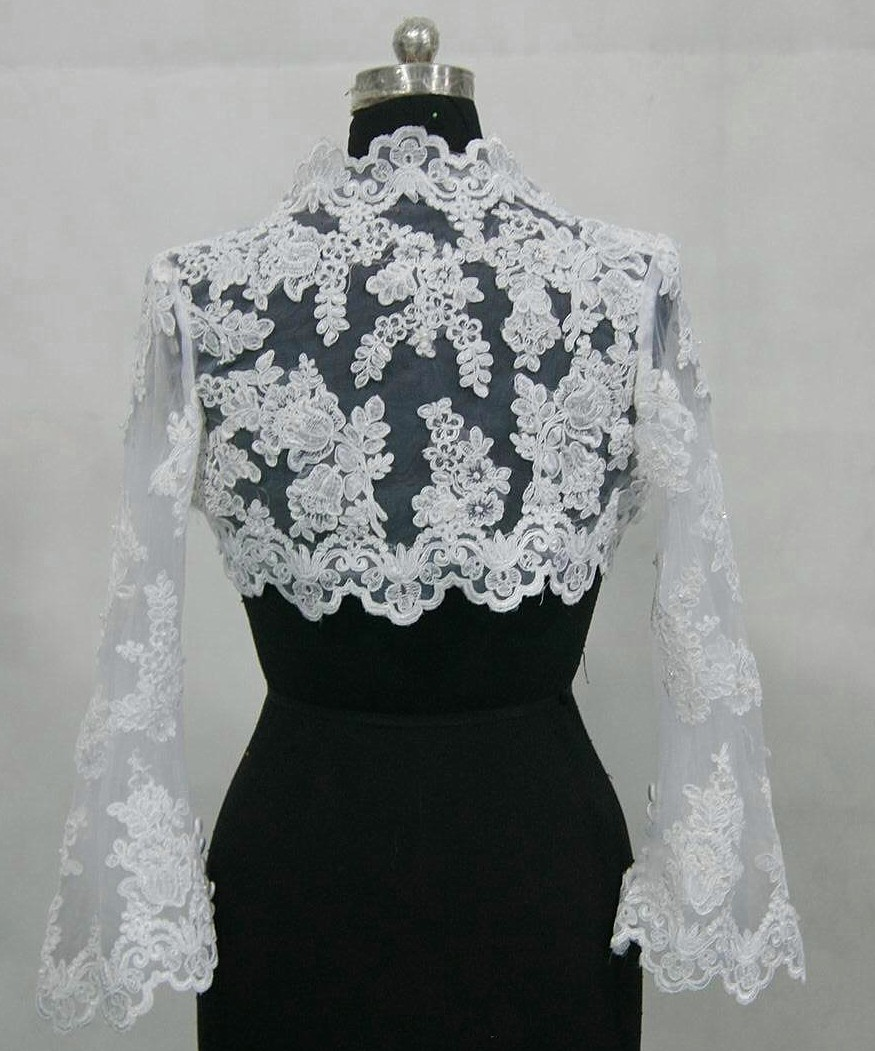 Long sleeve lace wedding jacket for Wedding dress long sleeve lace jacket