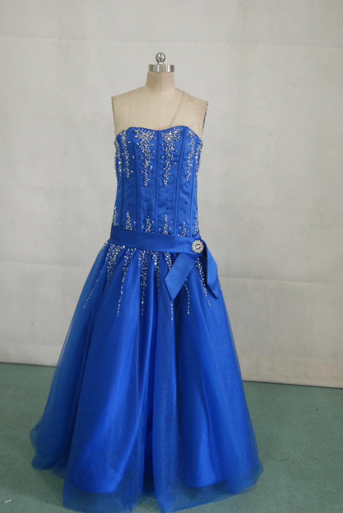 Long Blue and silver Pageant Prom dress