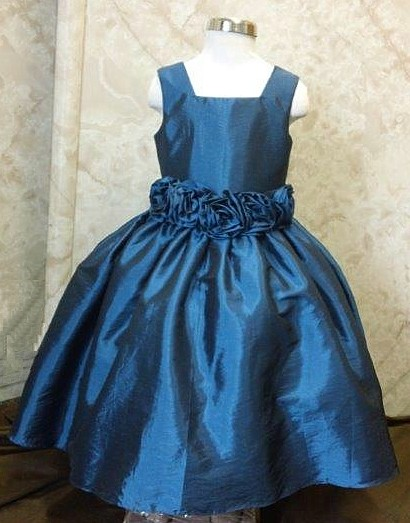 blue taffeta flower girl dress