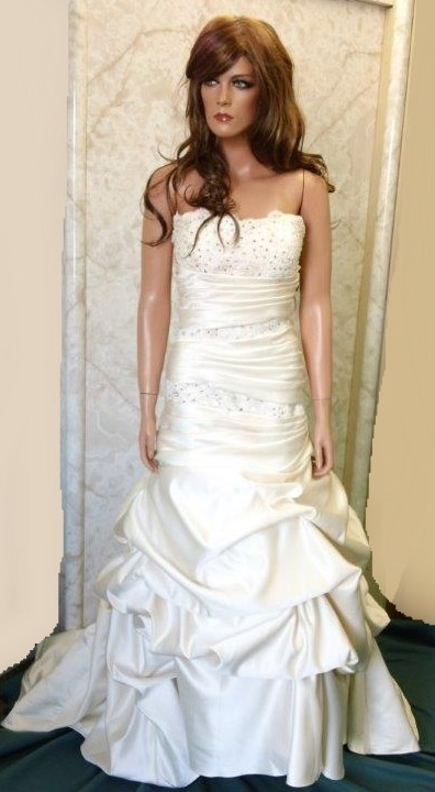 strapless ruched dropped waist wedding gown