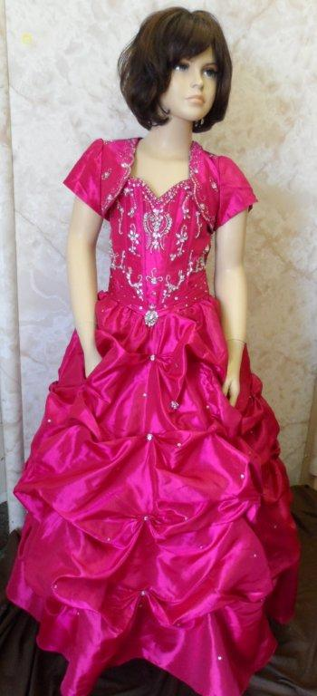 long fuchsia pageant dress with bolero
