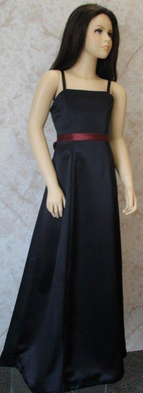 black spaghetti strap dress with burgundy sash