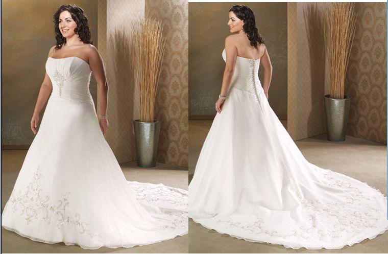 Plus Size Chiffon Strapless Bridal Gown