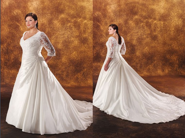Long sleeved plus size wedding gown under $400.