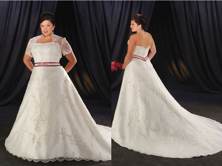 Womens plus size wedding dress with cap sleeve jacket.