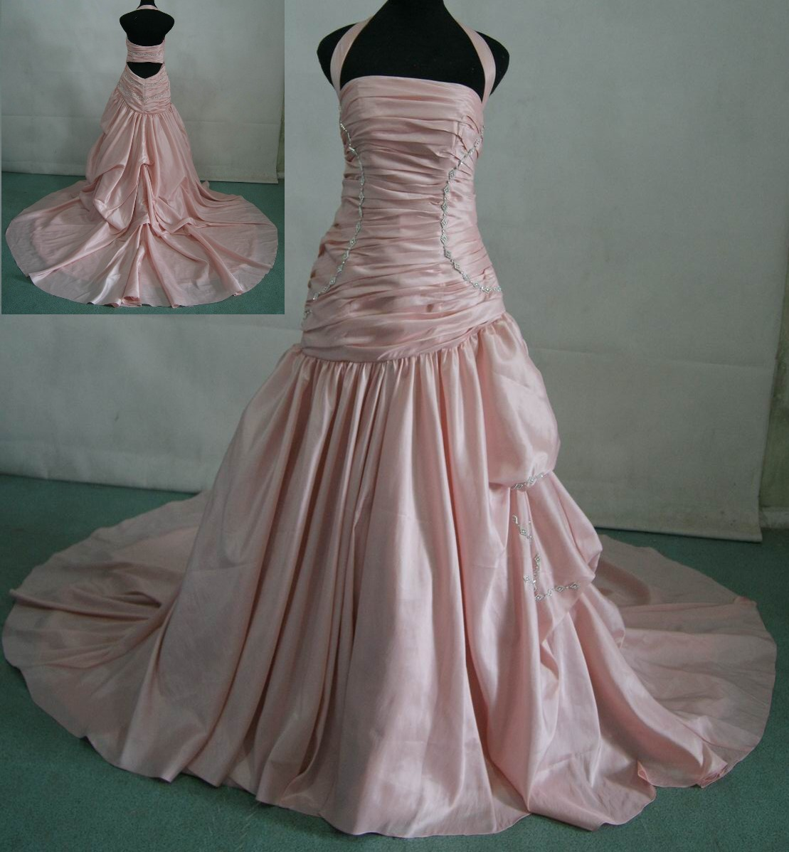 Pink Taffeta Halter Wedding Dress
