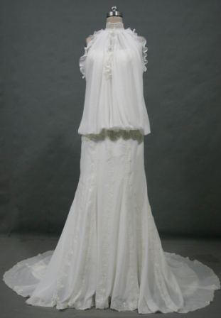wedding gown dress high neck ruffled blouson top