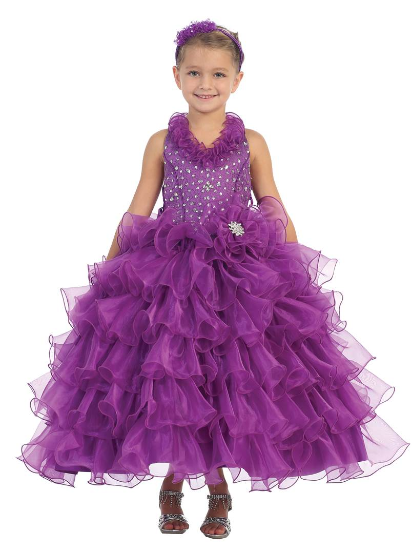 little girl ruffle skirt pageant gowns