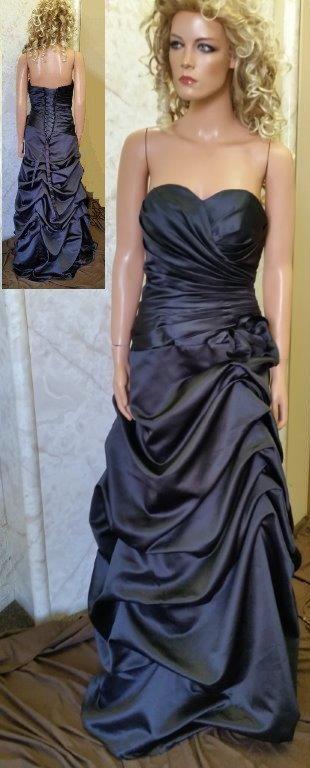 Long black satin bridesmaid dress with pick up skirt