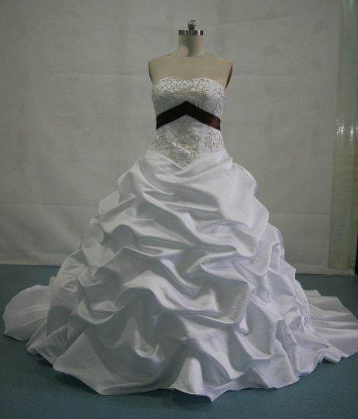 ruched ballroom wedding gown, strapless, brown sash