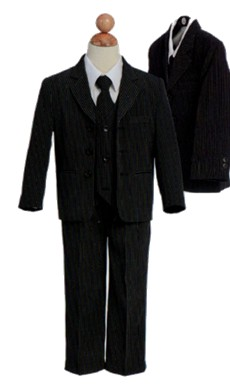 Black/white pin stripe suit
