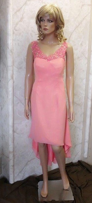 coral high low wedding dress