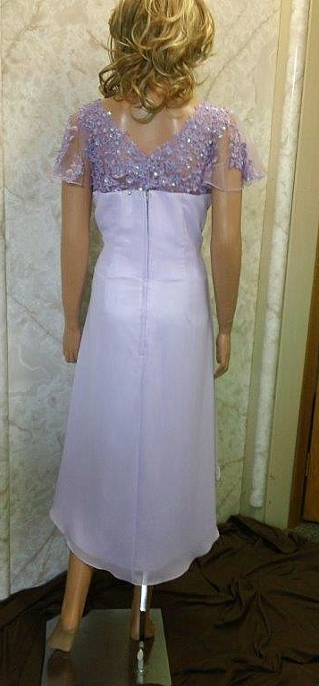lilac high low wedding dress