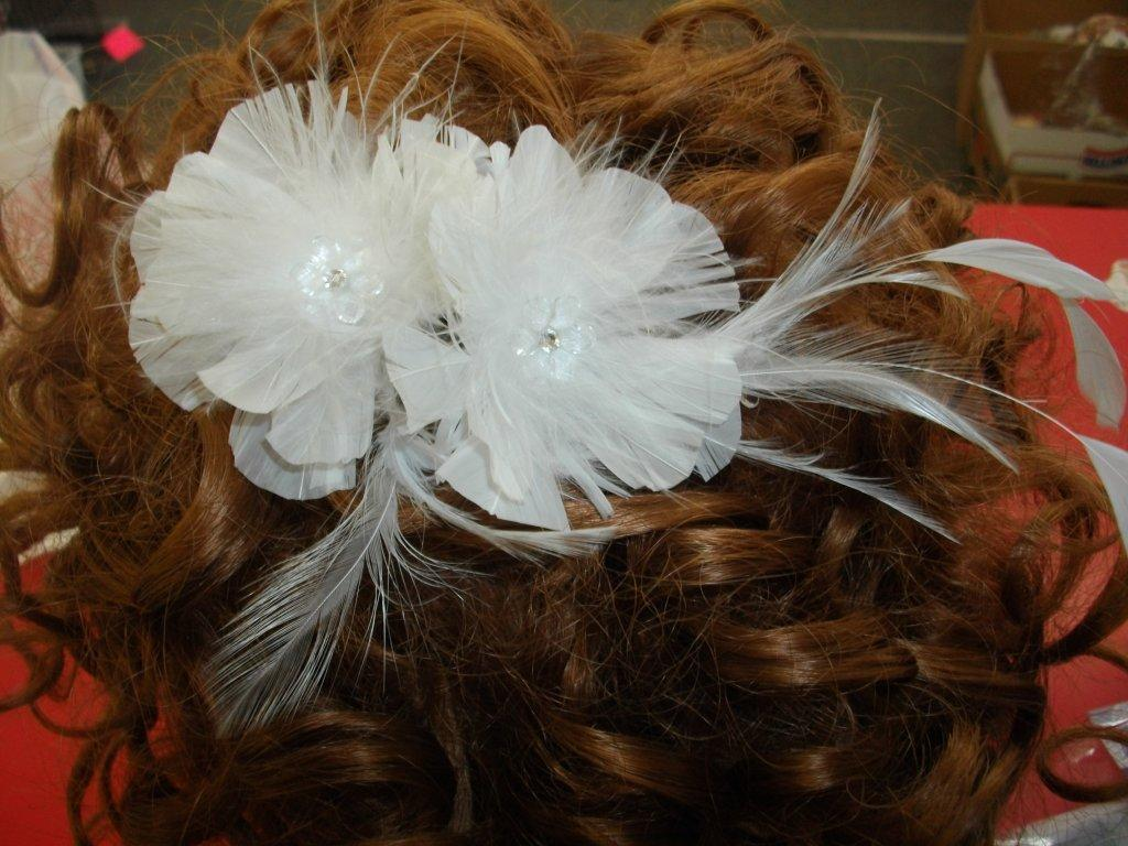 double flower bridal feather comb