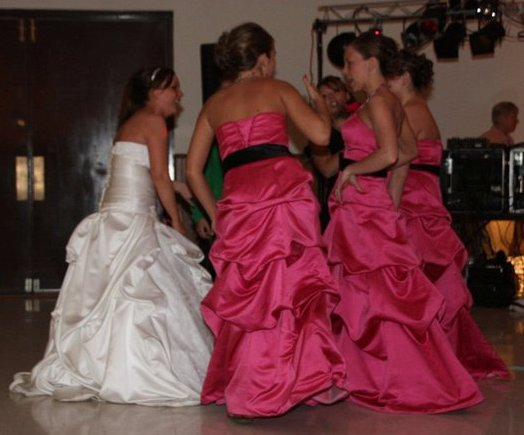 Watermelon  Bridesmaids with Black Sashes
