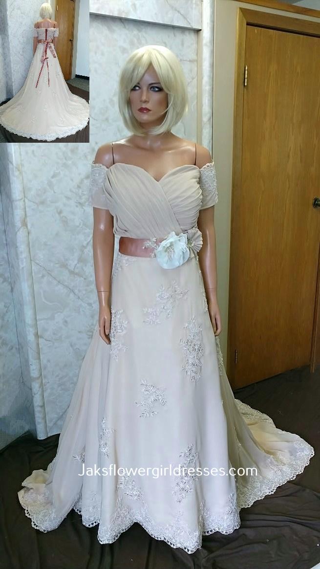 Lace chiffon wedding dress.