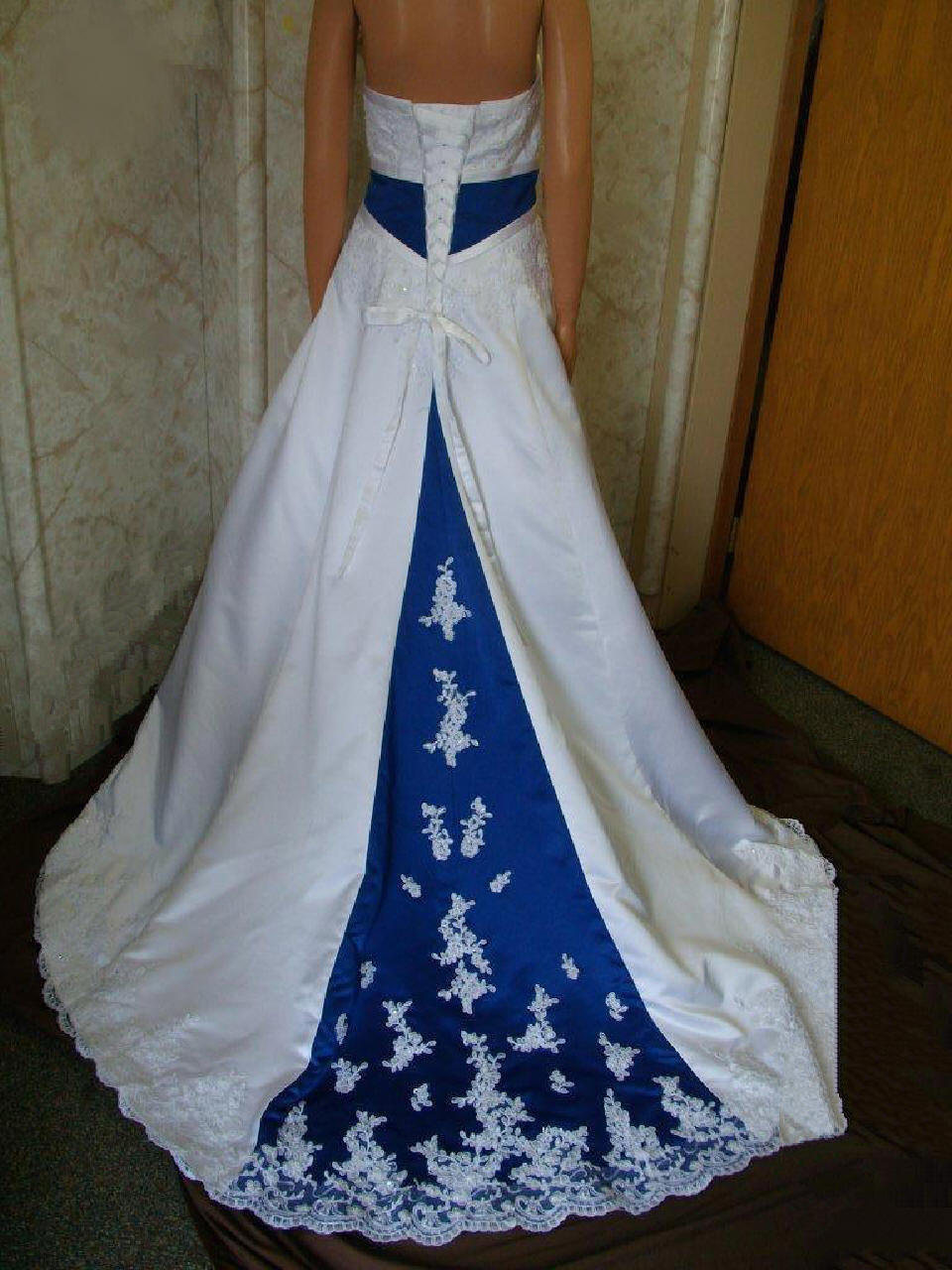 Royal blue empire banded wedding gown for Royal blue and white wedding dresses