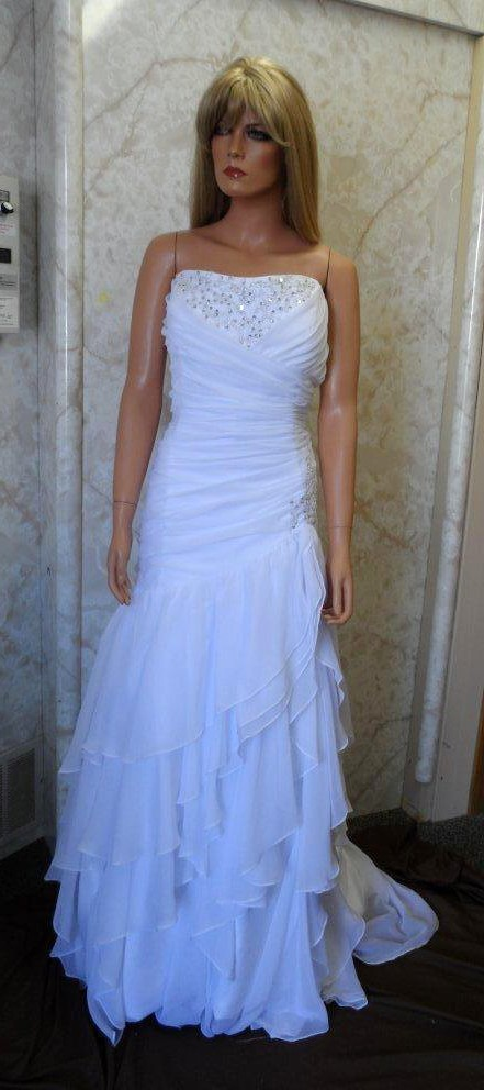 strapless chiffon wedding gown