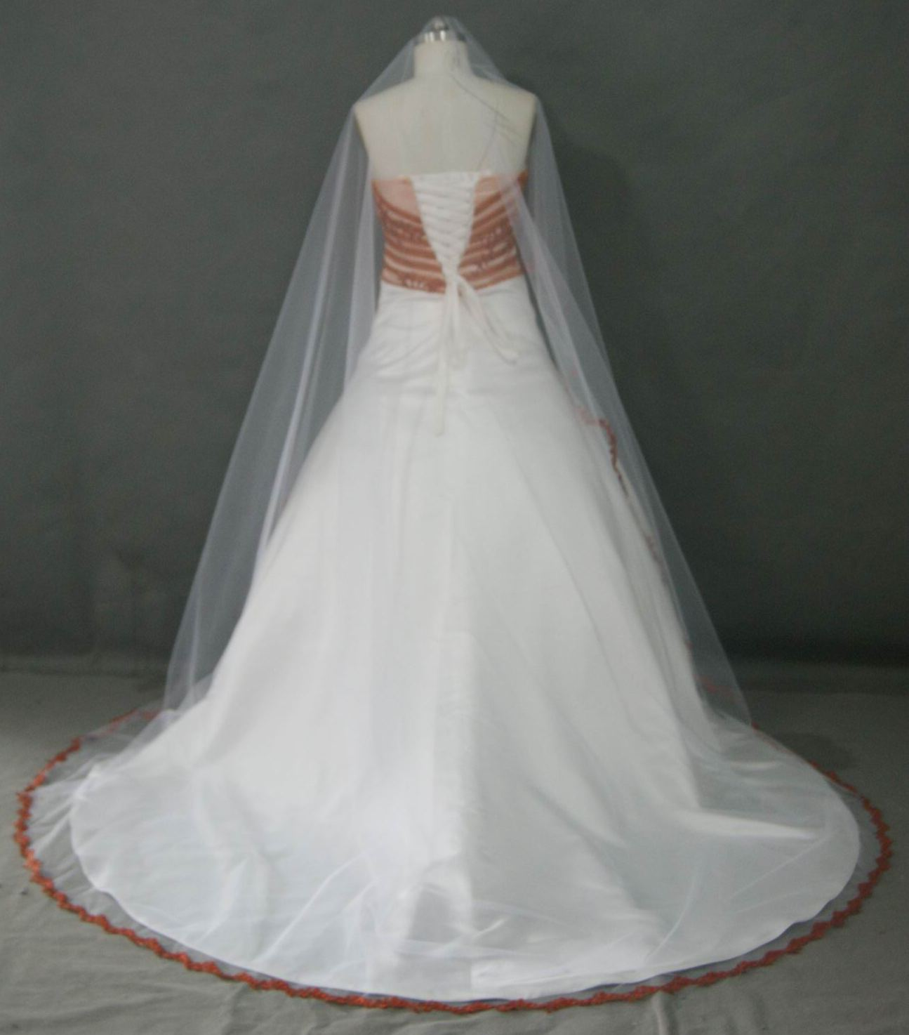 Bridal gowns with color red and white wedding dress with cap light ivory dress with burnt orange trim and the bride added a matching veil ombrellifo Images