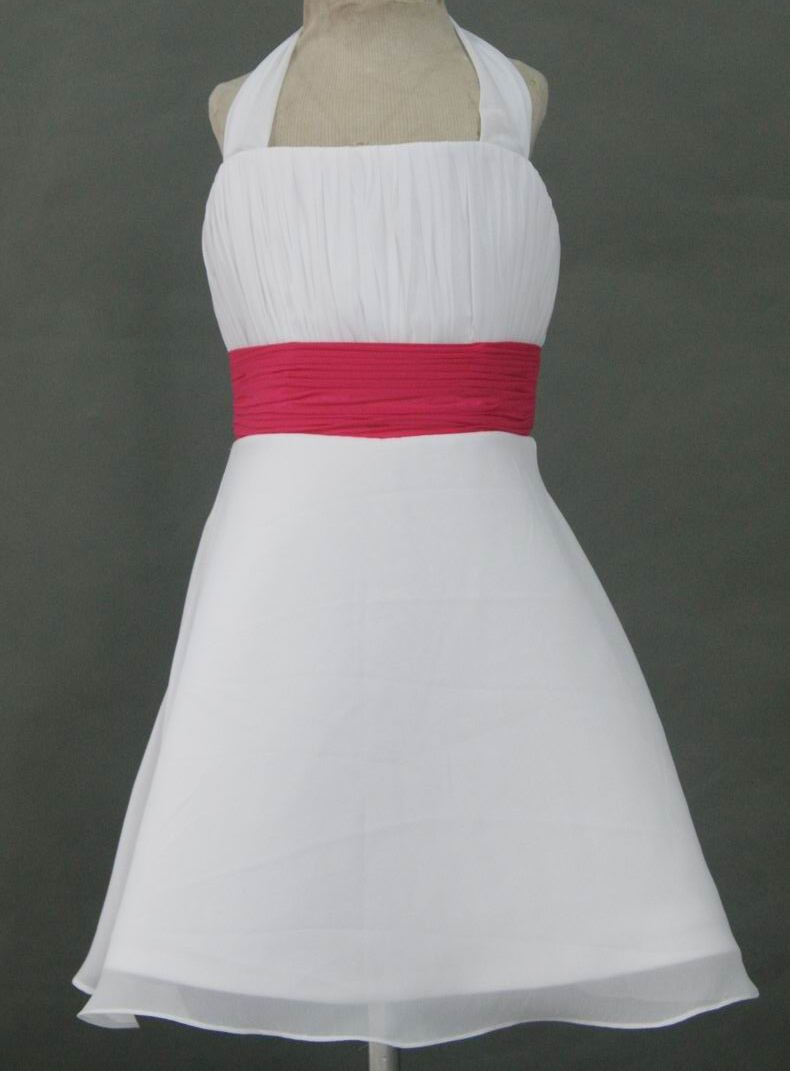 short white halter dress with pink sash
