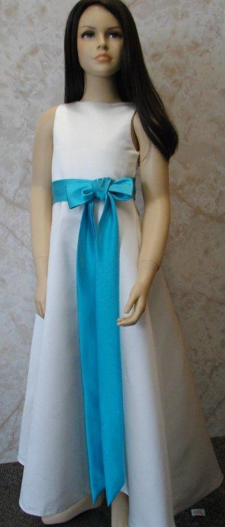 light ivory long dress with turquoise sash