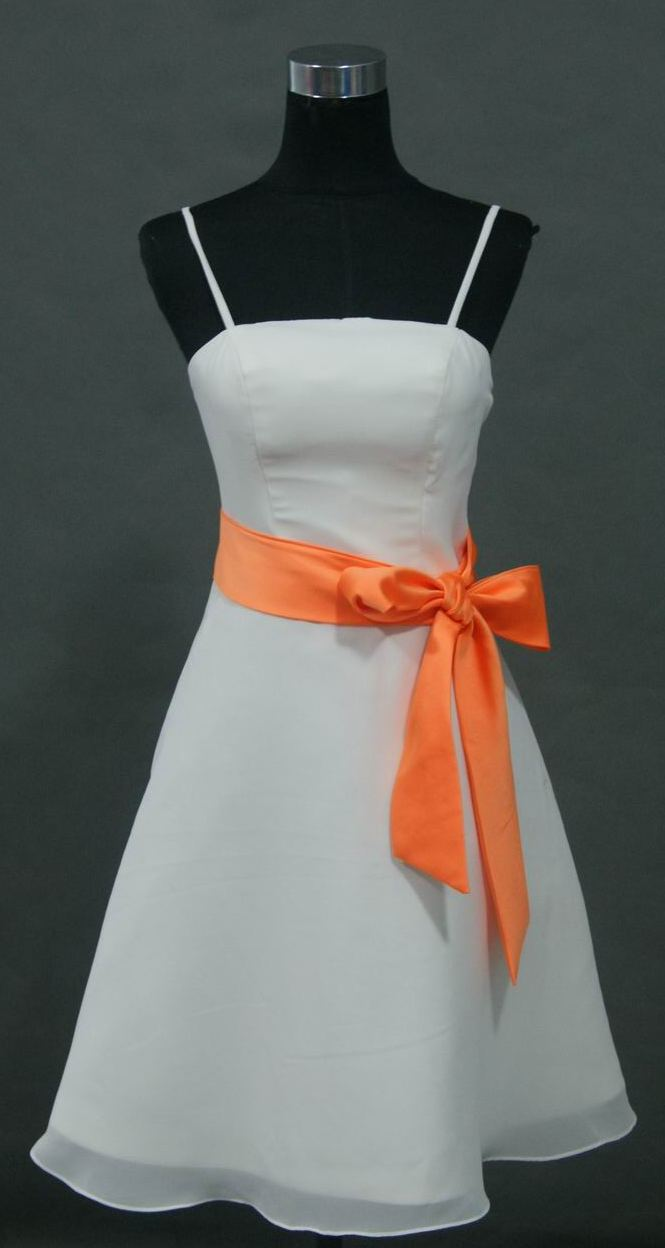 short white bridesmaid dress with tangerine sash