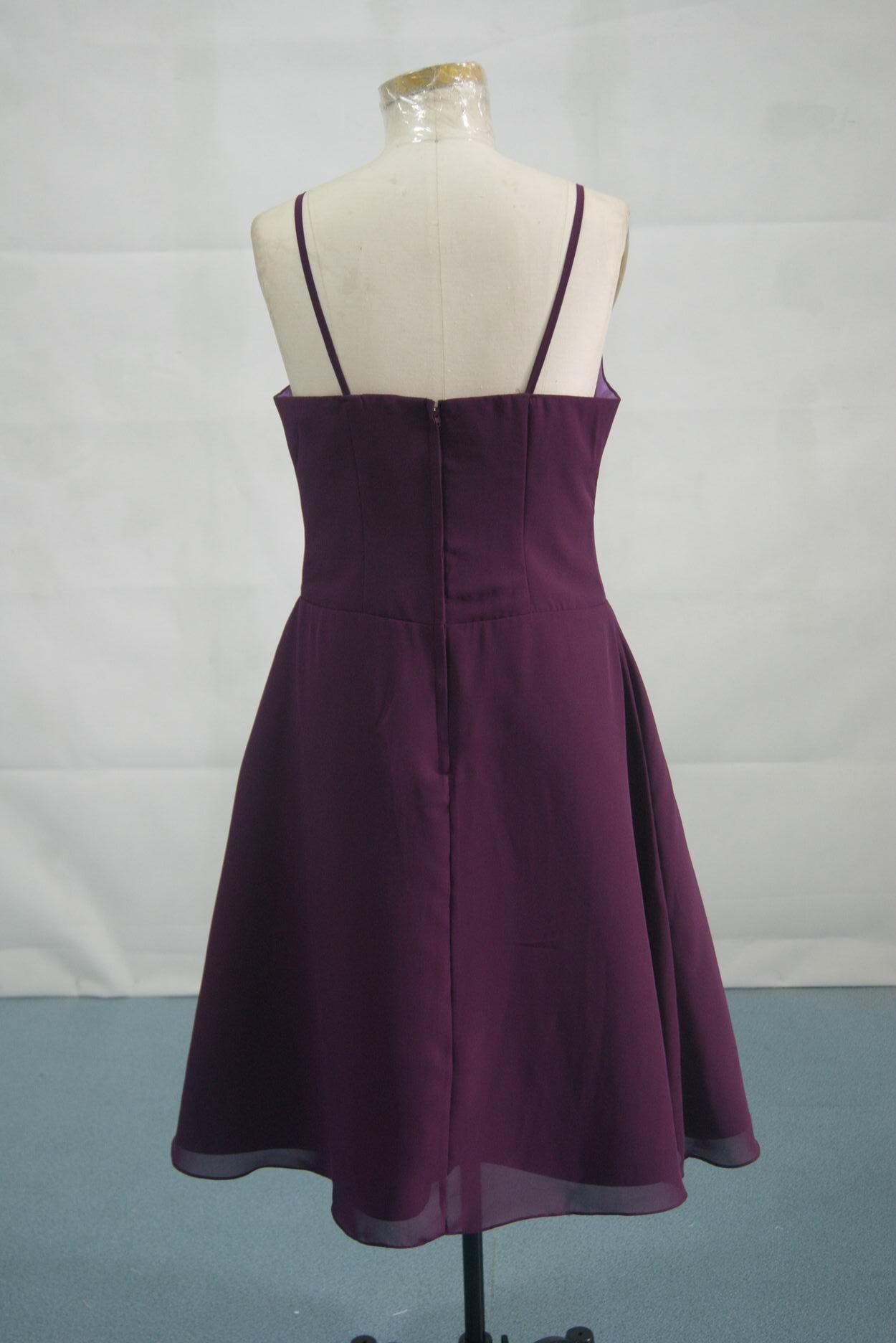 Chiffon tea length bridesmaid dress with straps plum spaghetti strap bridesmaid dress ombrellifo Image collections