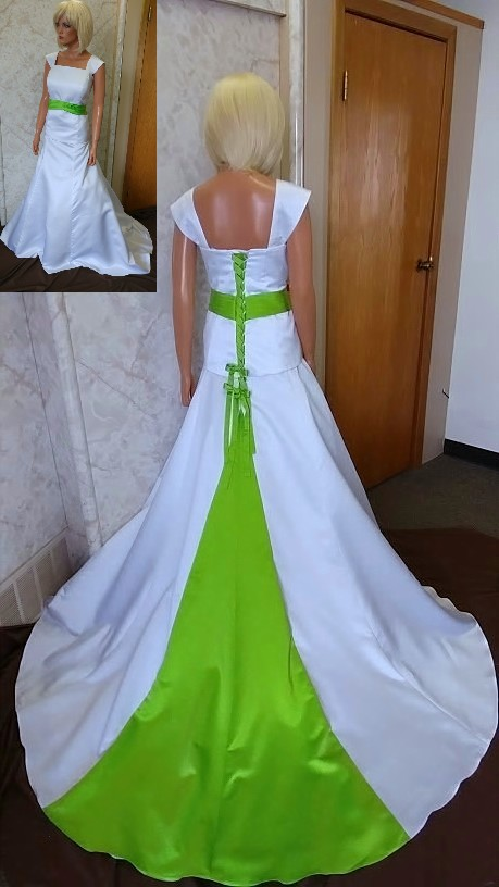 Two Piece Wedding Dresses White Dress With Lime Green Accents