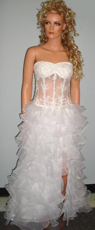 See Thru Corset Wedding Gown Organza Tiered Skirt