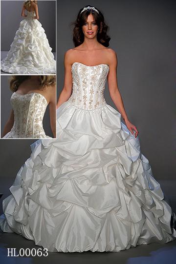 Pick Up Strapless Ball Gown Wedding Dress