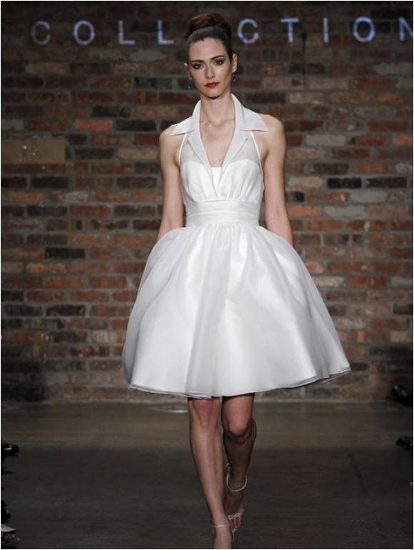 Wedding Dress With Shirt Collar Neckline