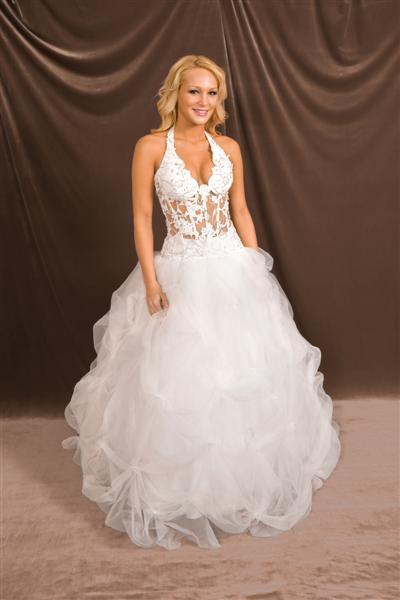 Halter Low Cut See Thru Corset Wedding Gown