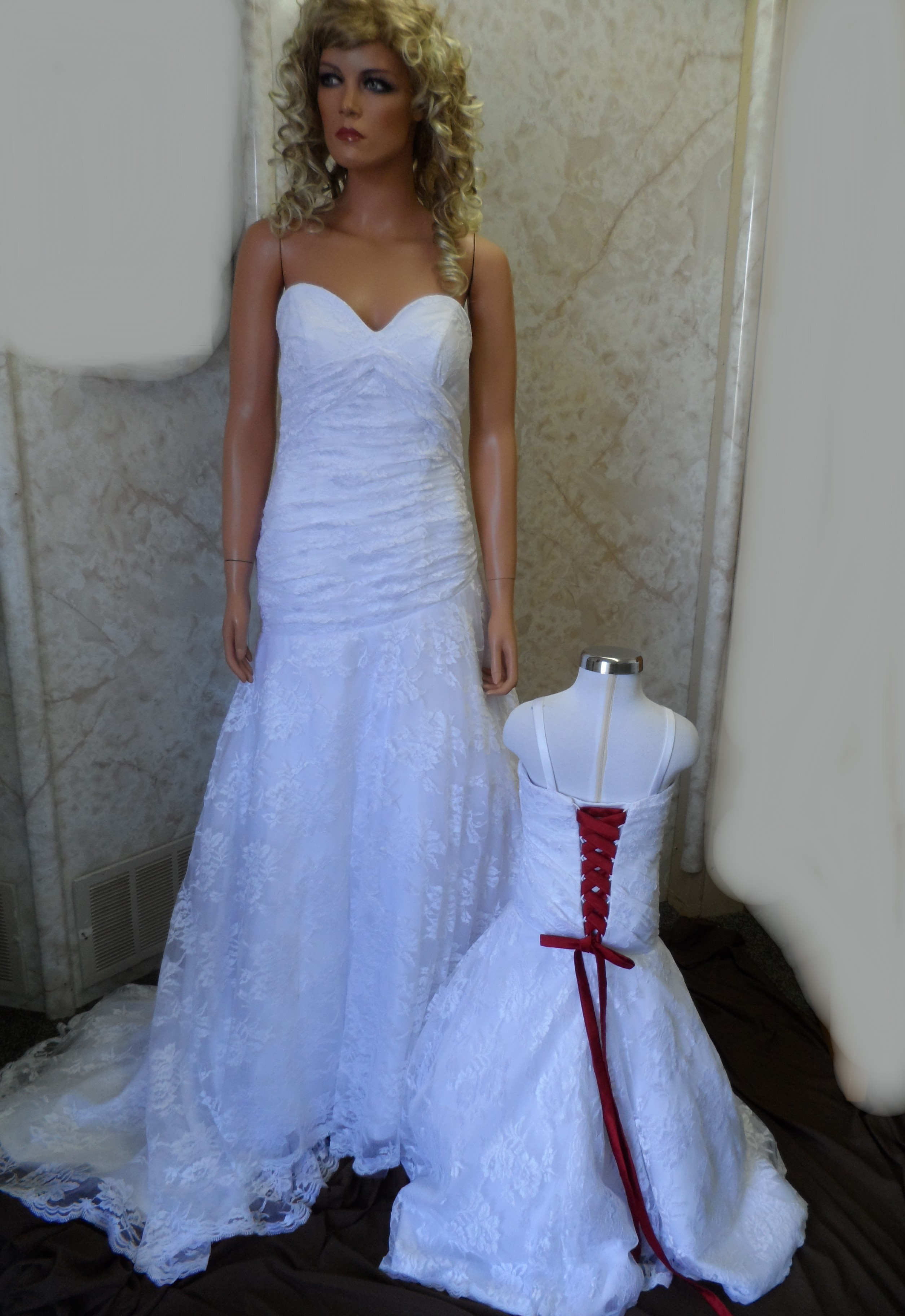Lace Wedding Gown And Matching Flower Dress